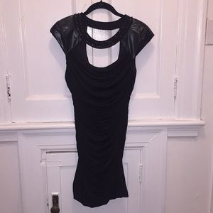 Black mini dress with leather shoulders+beading